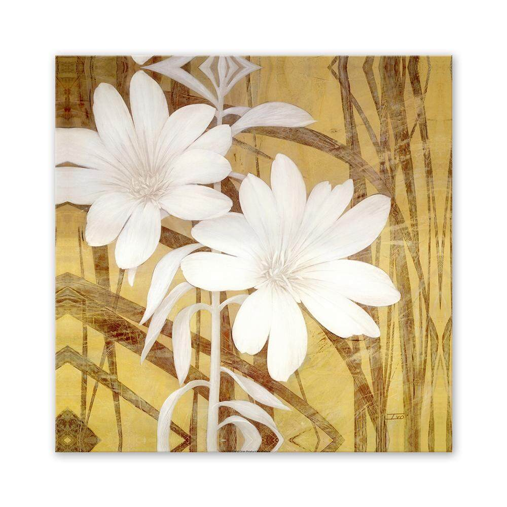 Features Flower Pattern Canvas Wall Art Painting Printed Picture ...