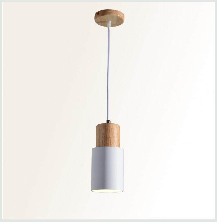 Biggers Nordic style Aluminium bedroom living room pendant lights Colorful wooden art indoor lamps E27 bulb Singapore