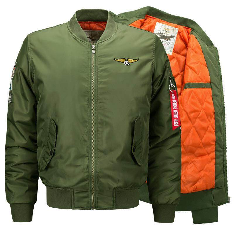 ZZOOI High Quality Ma1 Thick Winter Men Bomber Jacket Air Force One Hip Hop Patch Slim