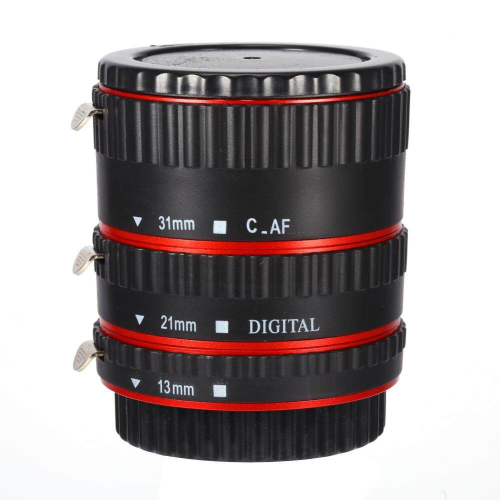 Red Auto Focusing AF Macro Extension Tube Set Ring Adapter For Canon EF EFS Lens