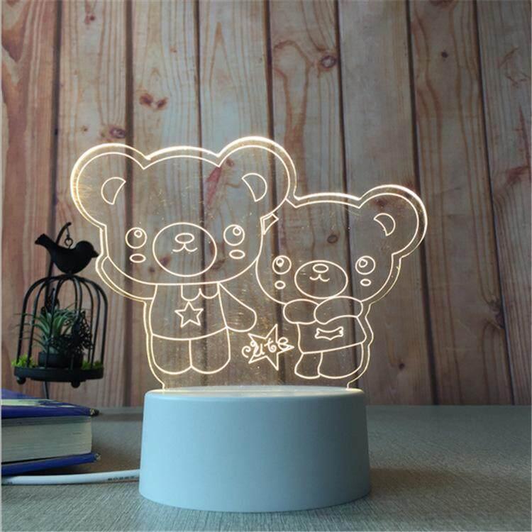3D Optical Illusion LED Table Night Light(Teddy Bear Family)