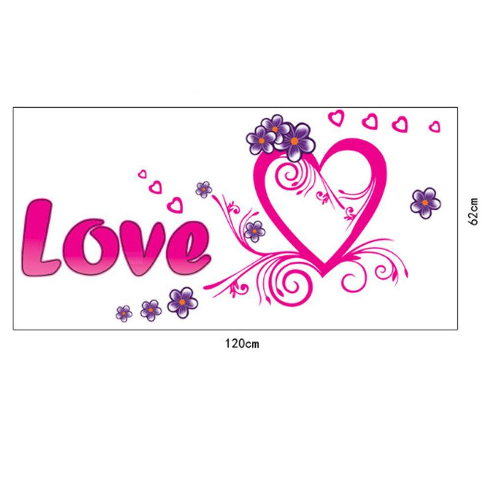 Harga Jual Bunga Cinta PVC Pelekat Dinding DIY Stiker Kertas Dinding Vinil Dinding Seni Gambar Lukisan Dinding Bisa Dilepas untuk Hiasan Rumah Bayi Kamar Tidur Ruang Tamu Toilet-Internasional