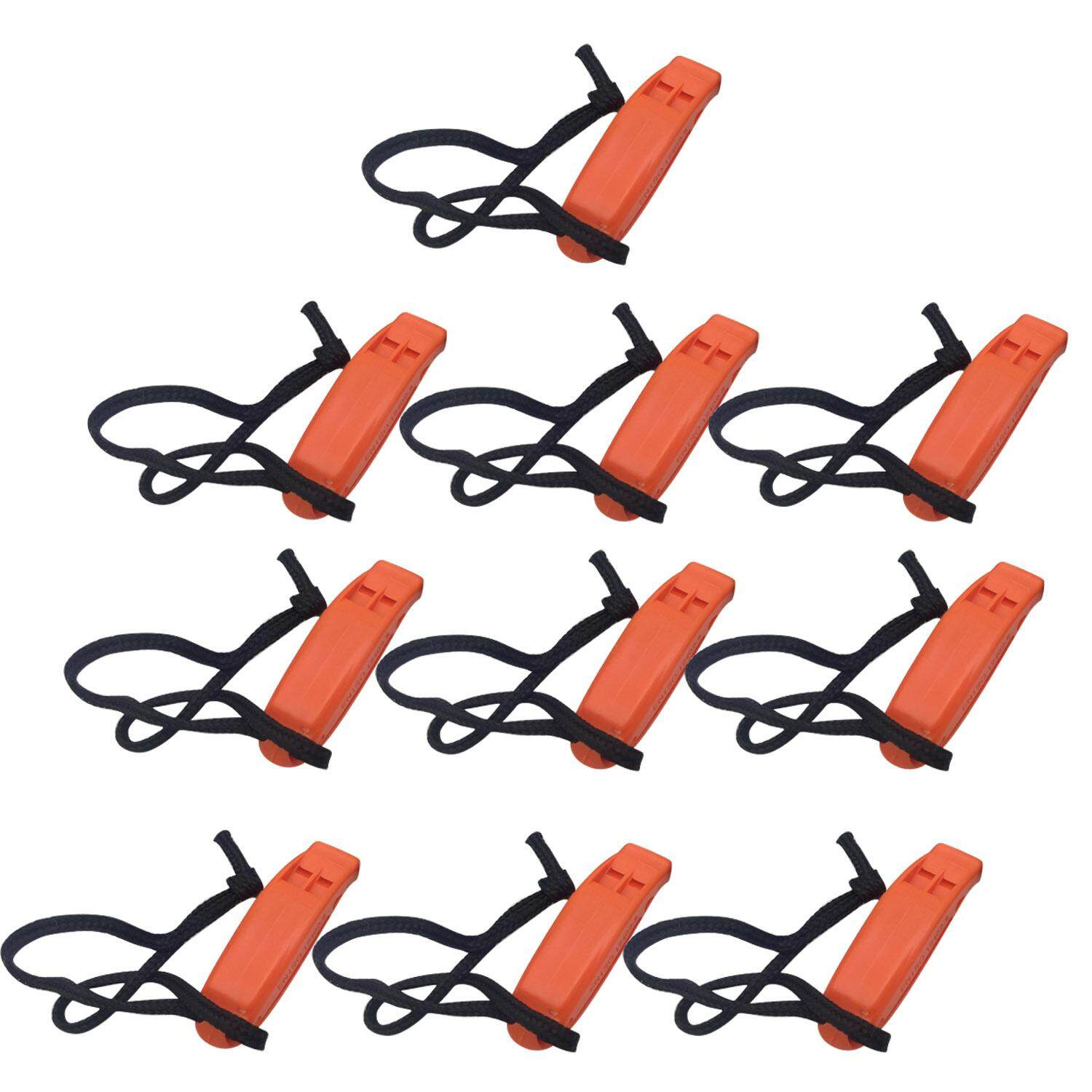10pcs Emergency Whistle Outdoor Survival Safety Double Tube Loud Whistle With Clip For Hiking Camping Climbing Boating Orange By Duha.