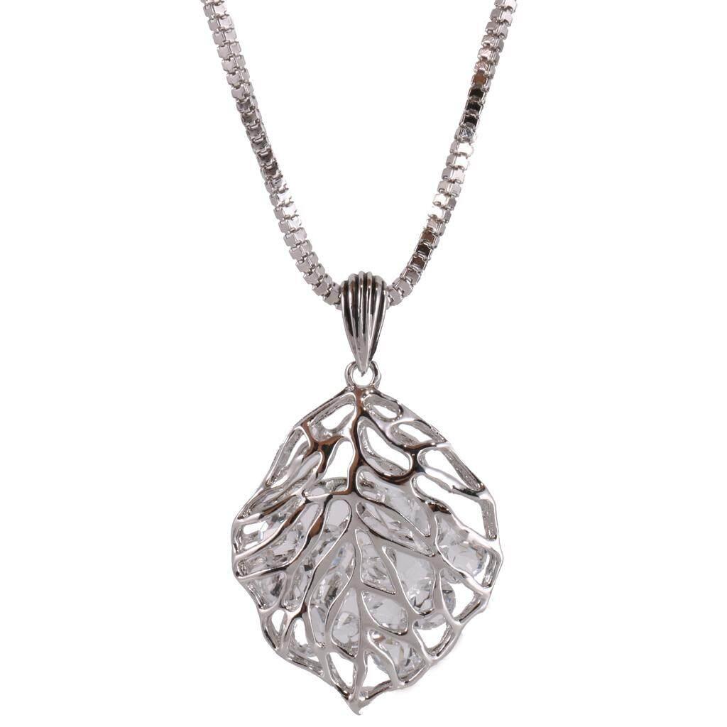 Bolehdeals Fashion Perak Gold Dicungkil Daun Kalung Liontin dengan Berlian Imitasi Di Dalam Sweater Rantai Wanita Perhiasan-Intl