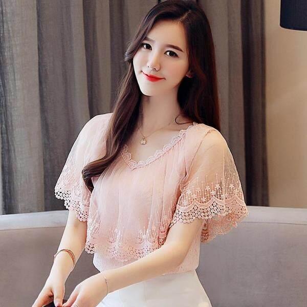 Ammin Áo sơ mi nữ bằng vải chiffon cổ chữ V tay loe phong cách thời trang Hàn Quốc mặc vào mùa xuân và mùa hè - INTL
