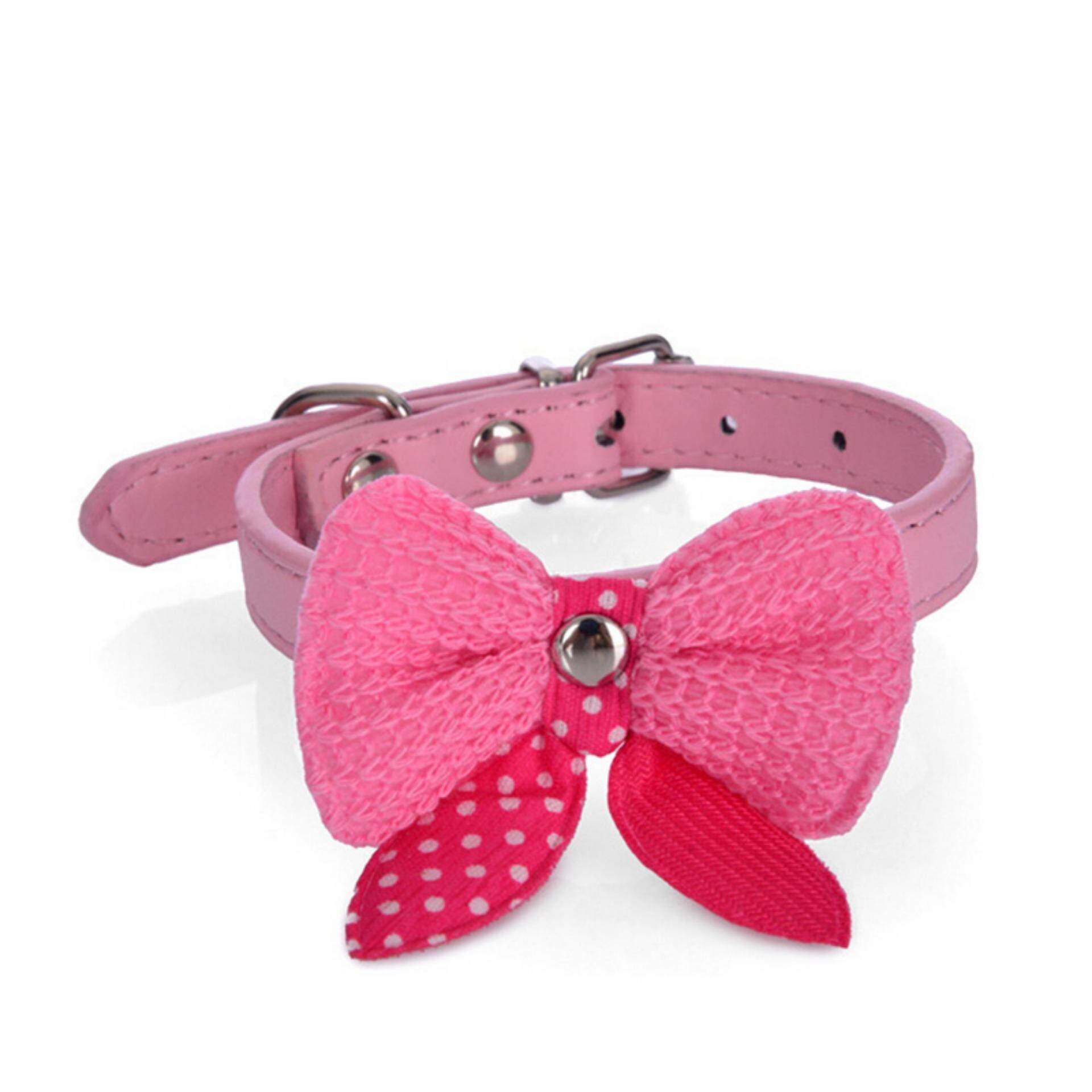 Bowknot Adjustable Pu Leather Dog Puppy Pet Cat Collars Necklace Neck Lace Pink Size:xs By Variety Grace.