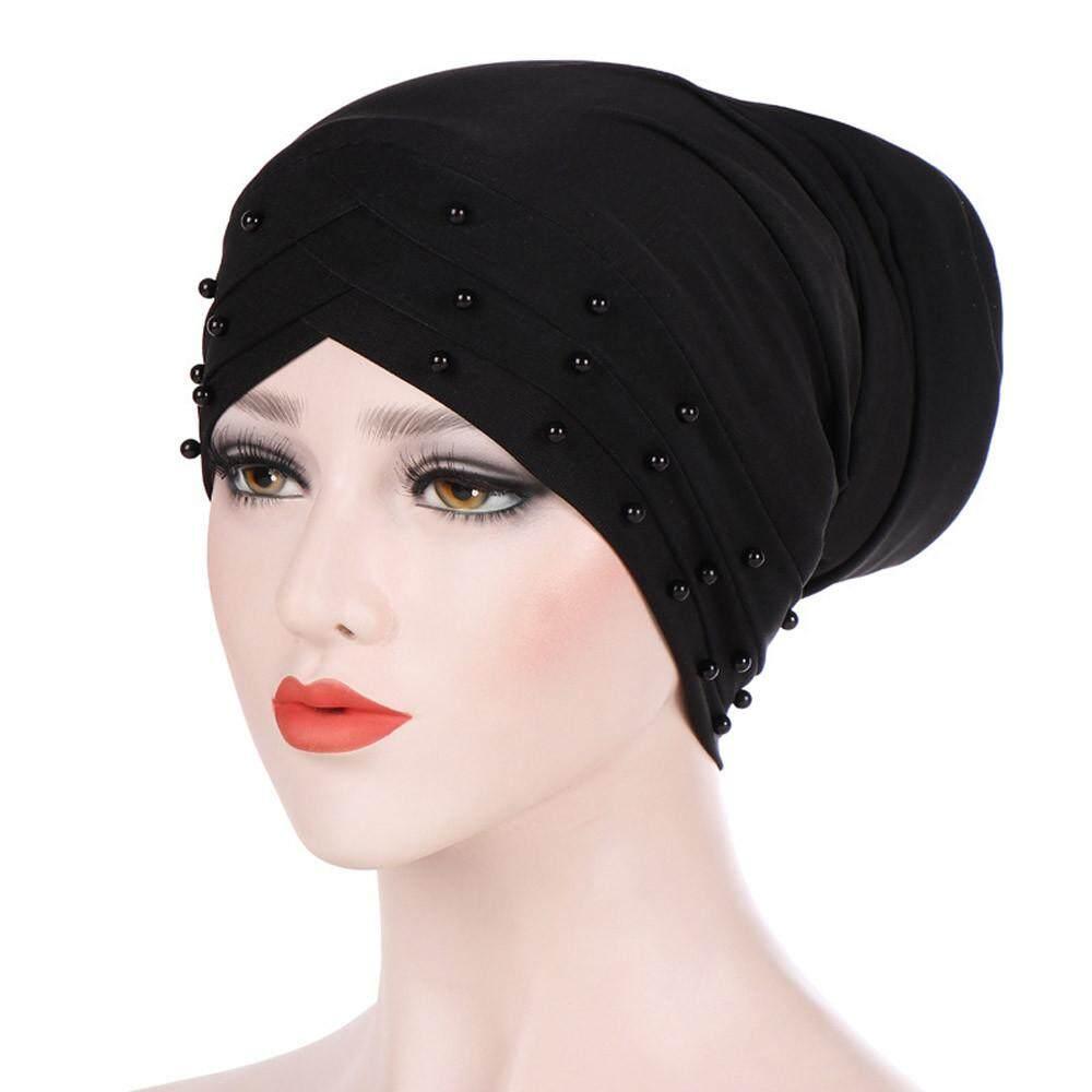 ผู้หญิง Beading อินเดียหมวกมุสลิม Ruffle หมวกคีโมผ้าพันคอ Turban Wrap Cap By Lemononstore.