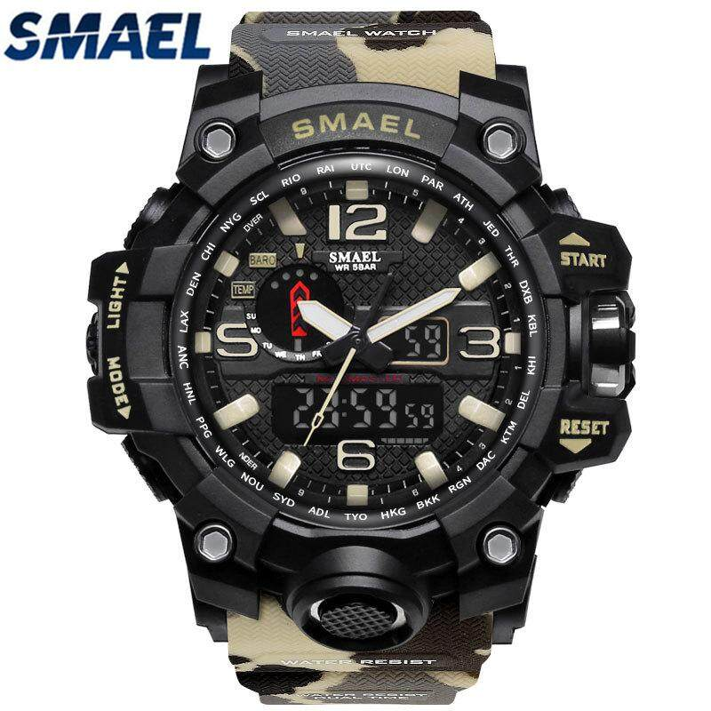 SMAEL Brand Camouflage Military Watch Men G Style Dual Display LED Digital-Quartzwatch Men's G Style Fashion  S Shock Sport Watch  1545mc