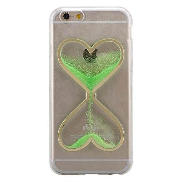 Smartphone Case S Case S Ikasefu Ikasefu Bening Transparan Karet Case untuk iPhone 4/4 S, lucu Bentuk Hati Terkini Pasir Alir Potongan Pas Badan Gel Bening Cair Case Cover UNTUK iPhone 4/4S-Sand, Green-Intl