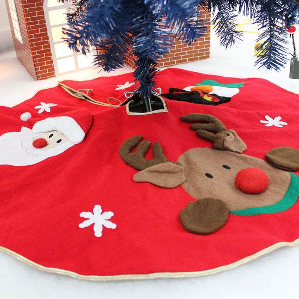 Embroidery Christmas Tree Skirt Festive 100CM Non-Woven Fabrics Home Decoration