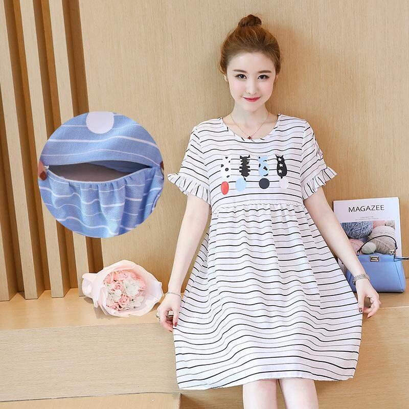 ea3742d29de Maternity Short Sleeve Round Neck Breastfeeding Dress Plus Size Ladies Nursing  Dress for Pregnant Women
