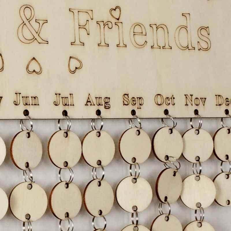 Mua BURSTORE Creative DIY Calendar Sign Plaque Wood Calendar Family Friends Birthday Reminder Board - intl