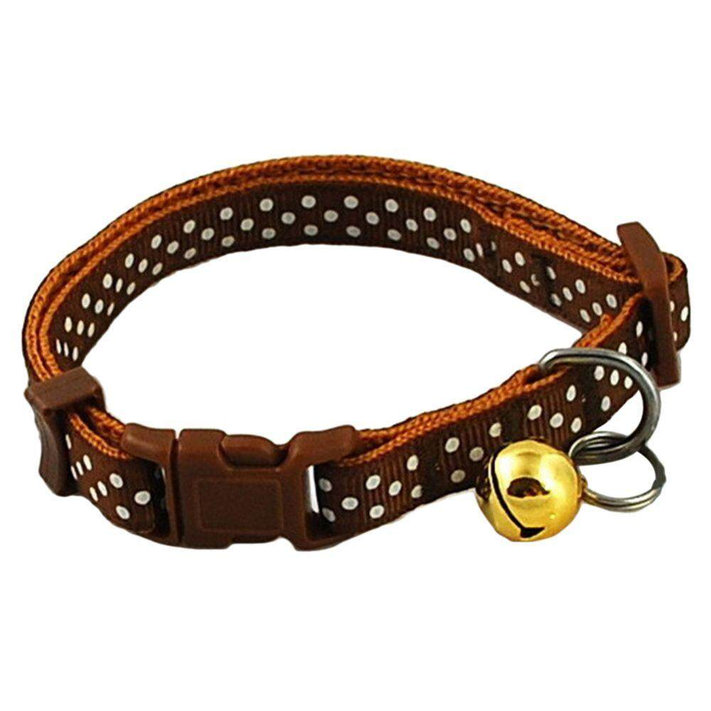 Pet Dog Puppy Cat Collars Fashion Polka Dot Print Adjustable Pet Animals Pp Neck Chain With Bell S Brown By Yoyonow