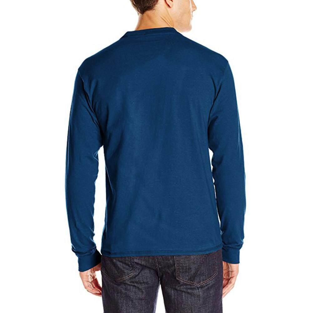 Pria Panjang Lengan Gemuk Otot Tombol Dasar Warna Murni Padat Blus Kaus Kaus Terbaik-Internasional