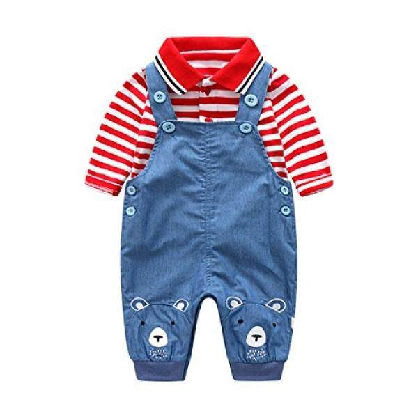 Boarnseorl Boarnseorl 2Pcs Baby Boy Clothing Set,Infant Red Stripe Polo Shirt+Denim Overalls Outfits - intl