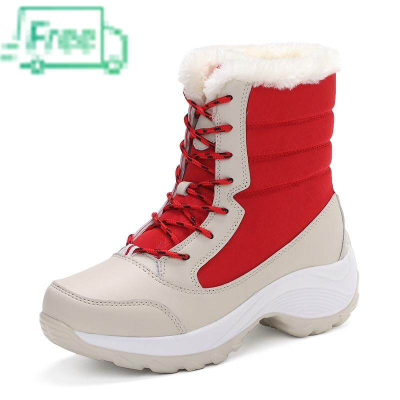 2c0c593ce6f Leather Boots, Flat Shoes Warm Winter Boots Tube Thickening Plus Velvet  Waterproof Non Slip Shoes Size