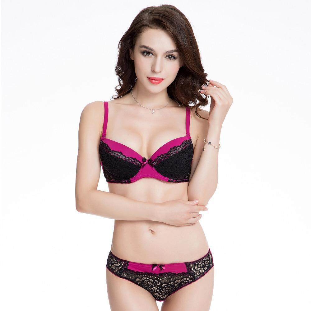 Womens Sexy Push Up Underwire Bra and Panty sets Girls Adjusted Straps Half  Cup Bralette Underwear set 73a705d47