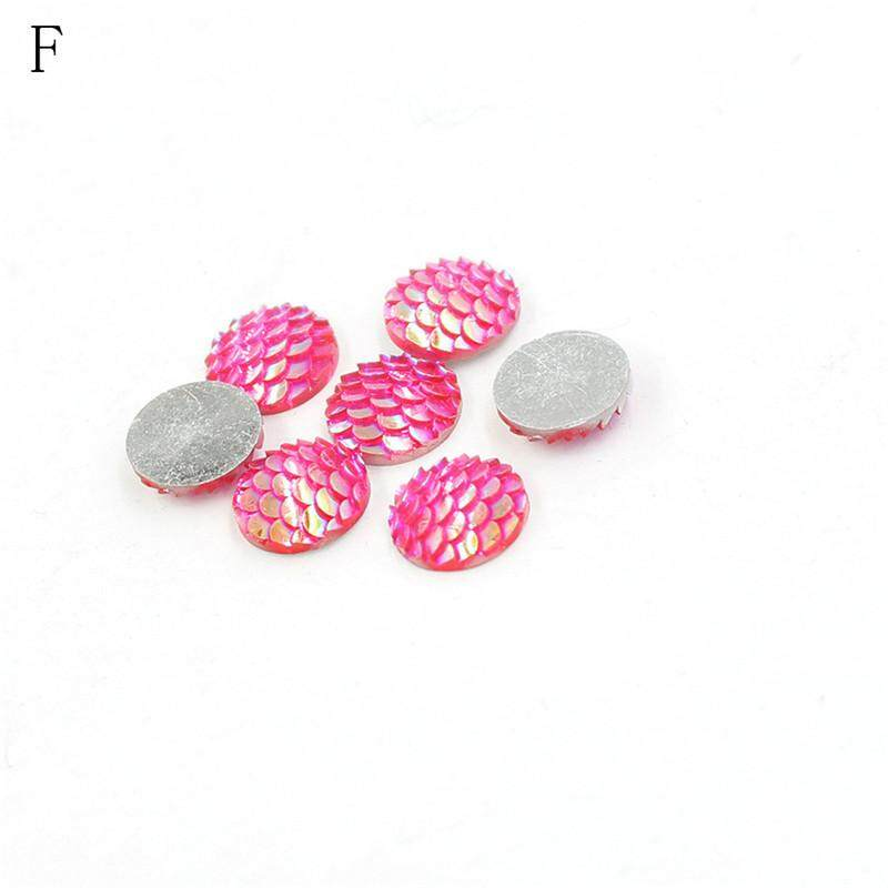 20pcs 12mm Rhinestone Fish Scales Cabochons Cameo Jewelry Craft Resin Flat Back A By Variety Grace