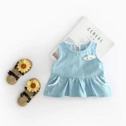(3-12months)Baby Girl Cute Cloud Sleeveless Top + Red Pants Set