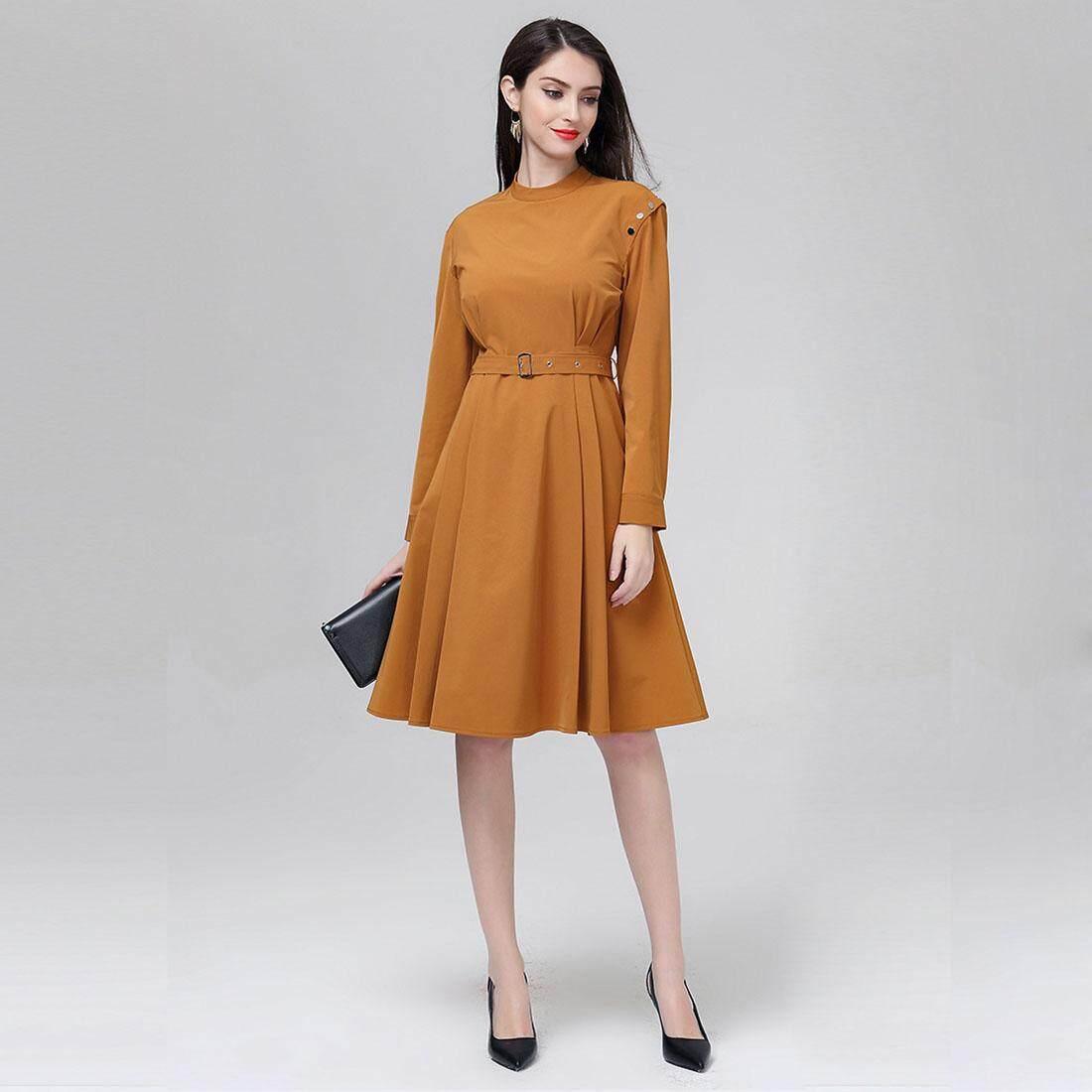 Marina Kaneva New Europe and the United States Spring High Waist Round Neck Dress Solid Color Elegant Slim Dress(Caramel,M/US-4/UK-8)