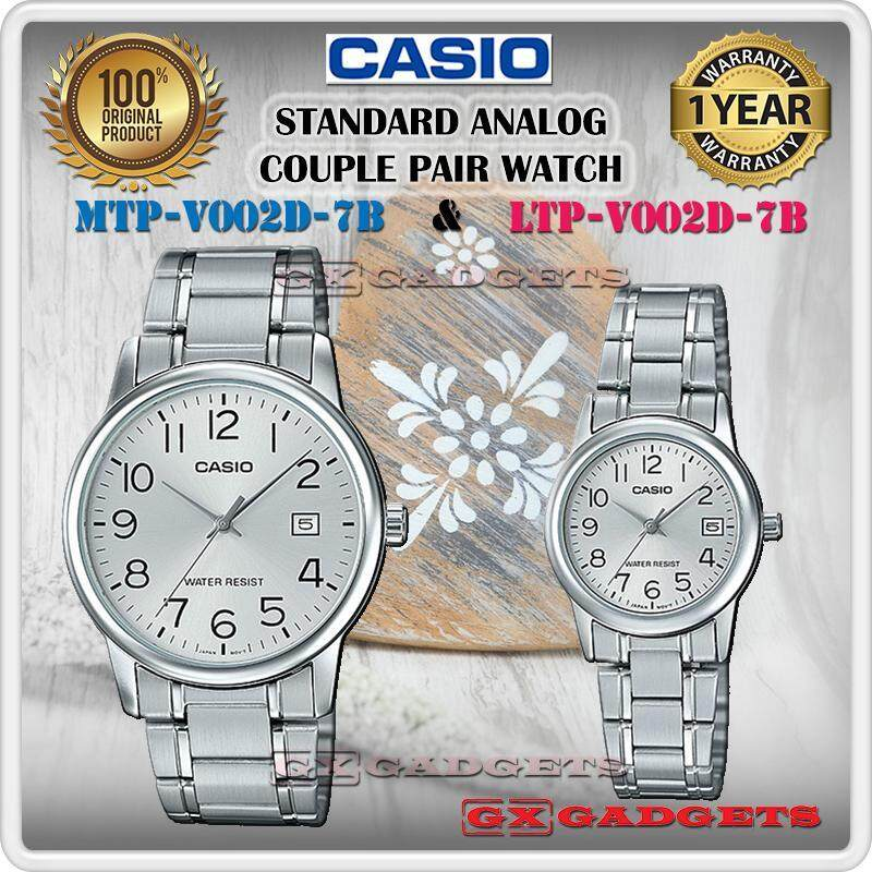CASIO MTP-V002D-7B + LTP-V002D-7B STANDARD Analog Couple Pair Watch Date Stainless Steel Band Water Resistant MTP-V002 LTP-V002 V002 Series Malaysia