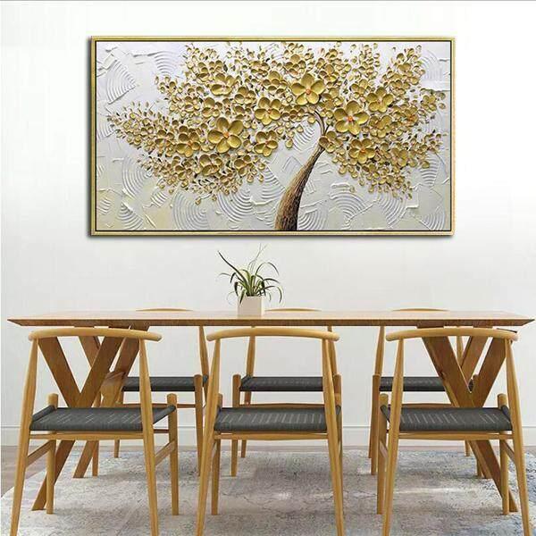 Detail Gambar Tangan Pianted Lukisan Minyak Pada Kanvas Latar Putih Emas Bunga Pohon Lukisan Dekorasi Dinding Rumah Tanpa Frame Terbaru
