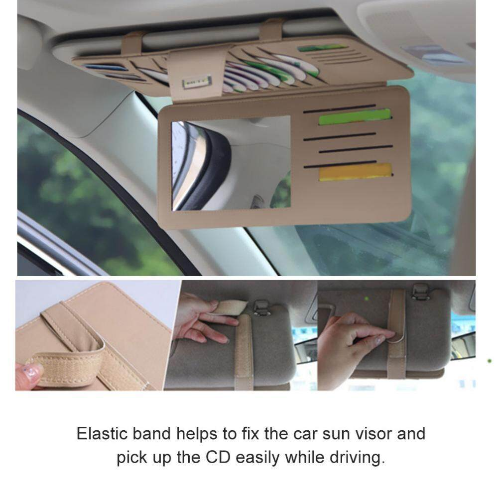 【Promotions】Car Sun Visor Organizer Multifunction PU Leather Car Sun Visor Holder Sunshade CD