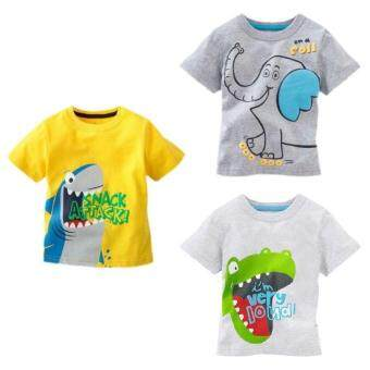 Summer Baby Boys Cartoon T Shirt Cotton Short Sleeve Tops Tees For Boy Kids