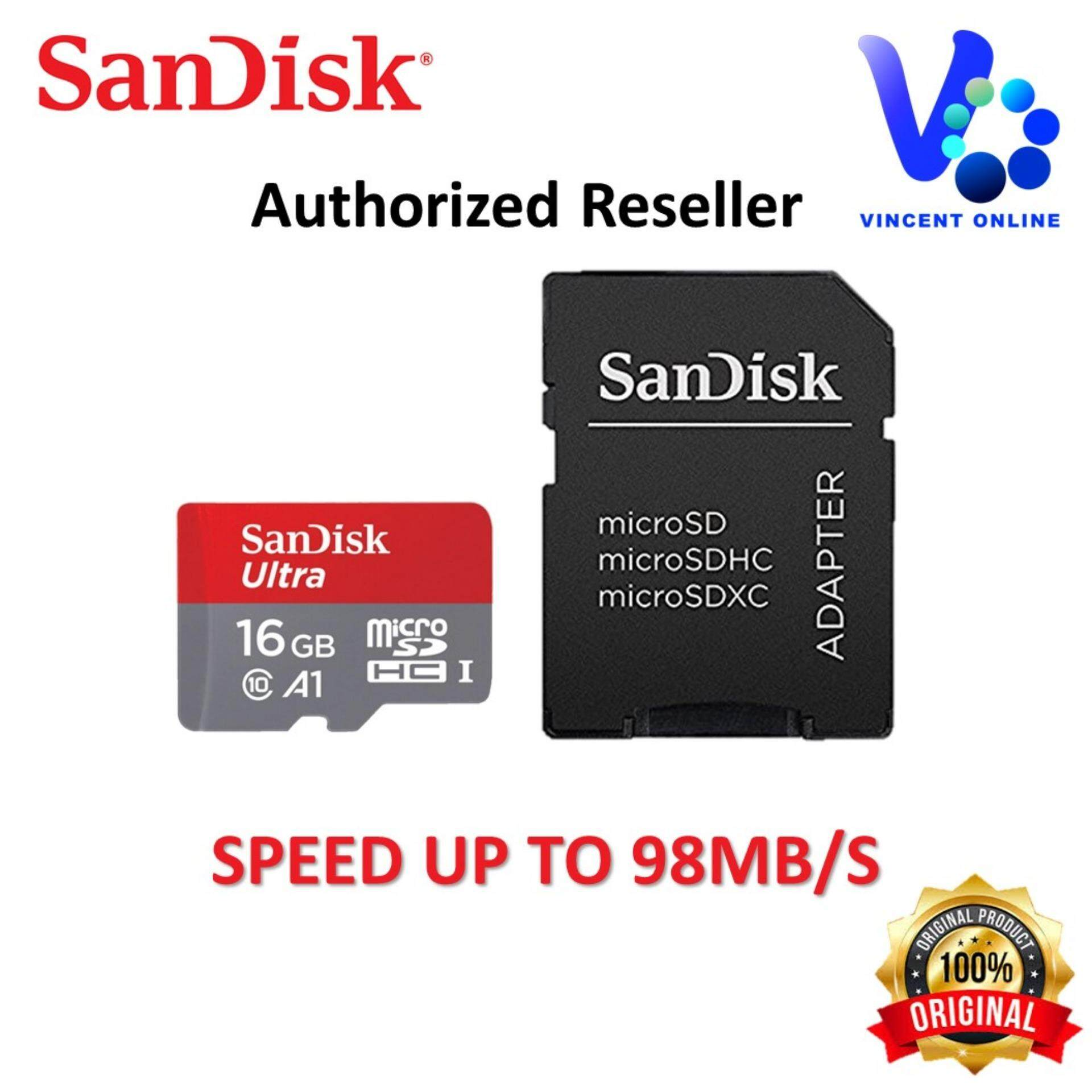Features Sandisk Ultra 16gb 98mb S 4k Hd A1 Microsdhc Uhs I Sdsqunc 064g Gn6ma Microsd 80mb 64gb Card With Adapter