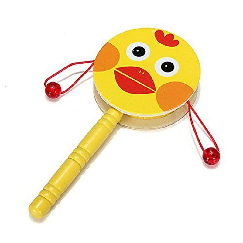 Baby Kid Wooden Musical Hand Bell Shaking Rattle Drum Toy - intl