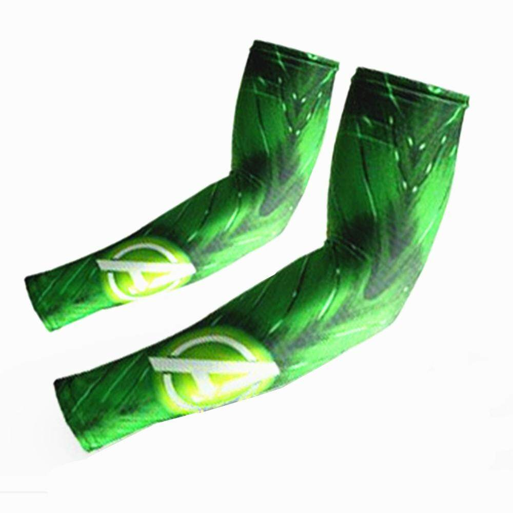 Outdoor Sports Sunproof Quick-Drying Wick Moisture Breathable Elastic Arm Sleeves - Green + White By Uni-Shop.
