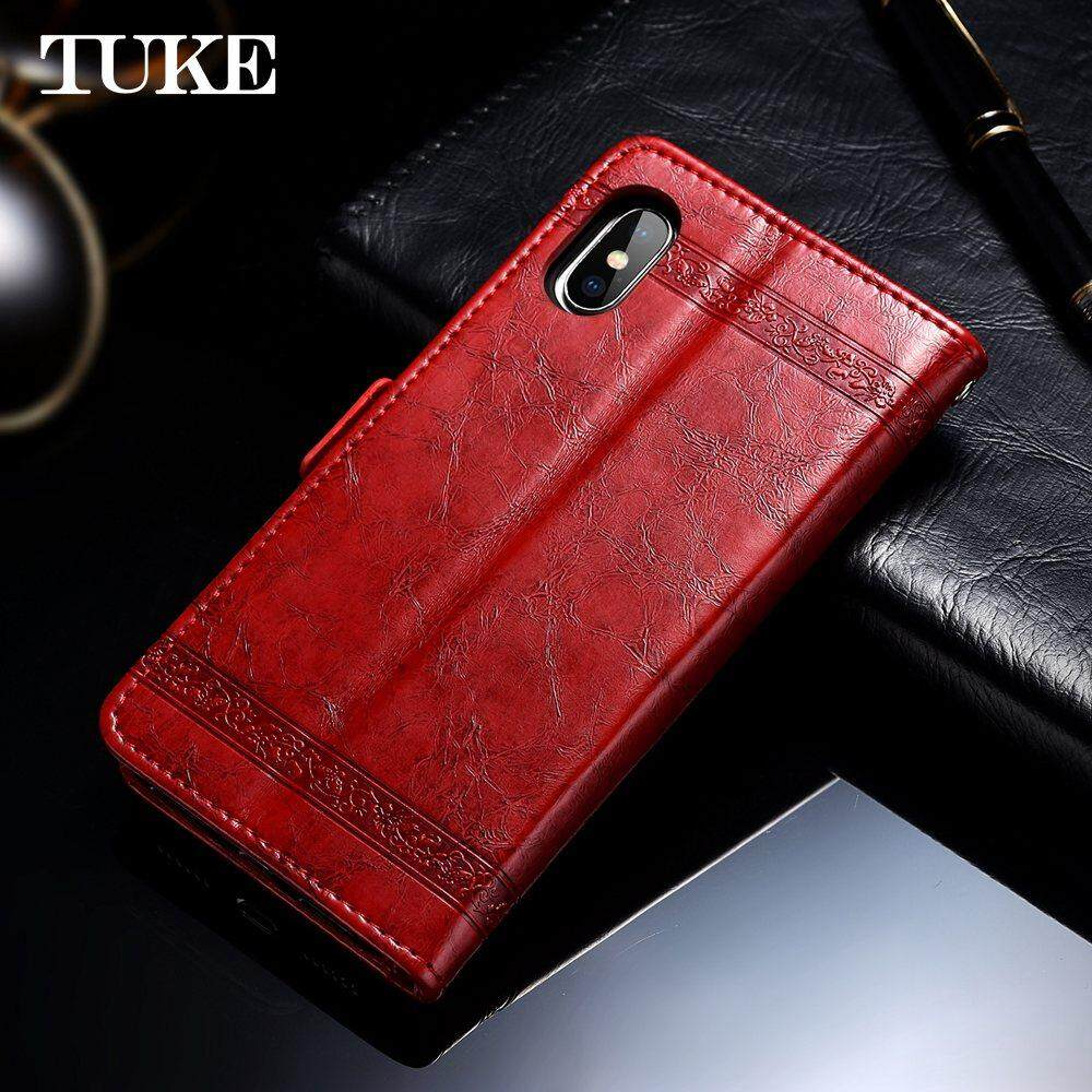 TUKE Vintage Embossed Flower Case For Meizu M6S Cover Luxury Oil Wax Leather .