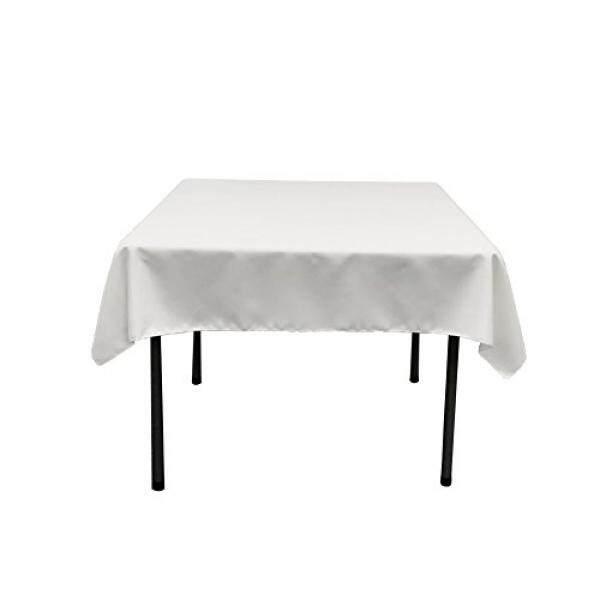 LA Linen Polyester Poplin Square Tablecloth, 52 by 52-Inch, White