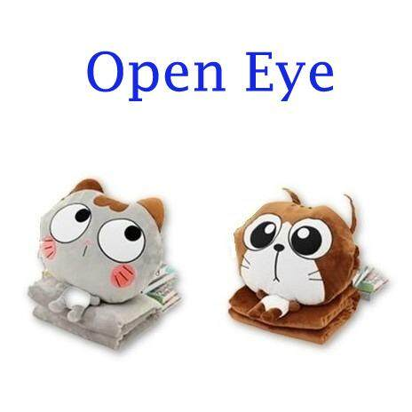 (Open Eye - Brown)2 in 1 Cute Kitty Plush Toy Comfort Pillow & Blanket Throw Cushion