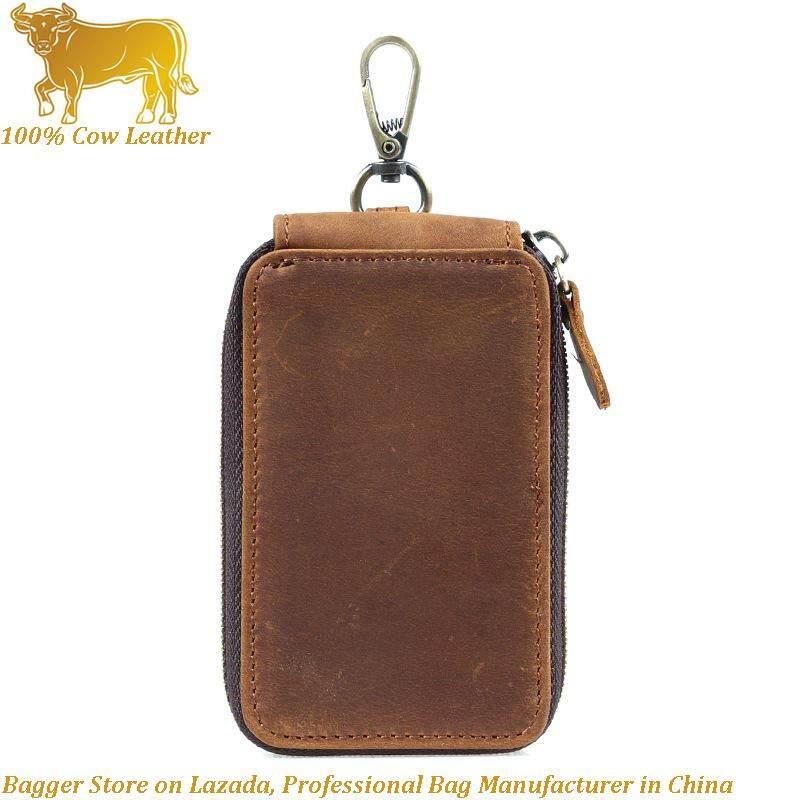 Italian 100% Genuine Cowhide Casual Car Key Case Crazy Horse Leather Key Holders Retro Small