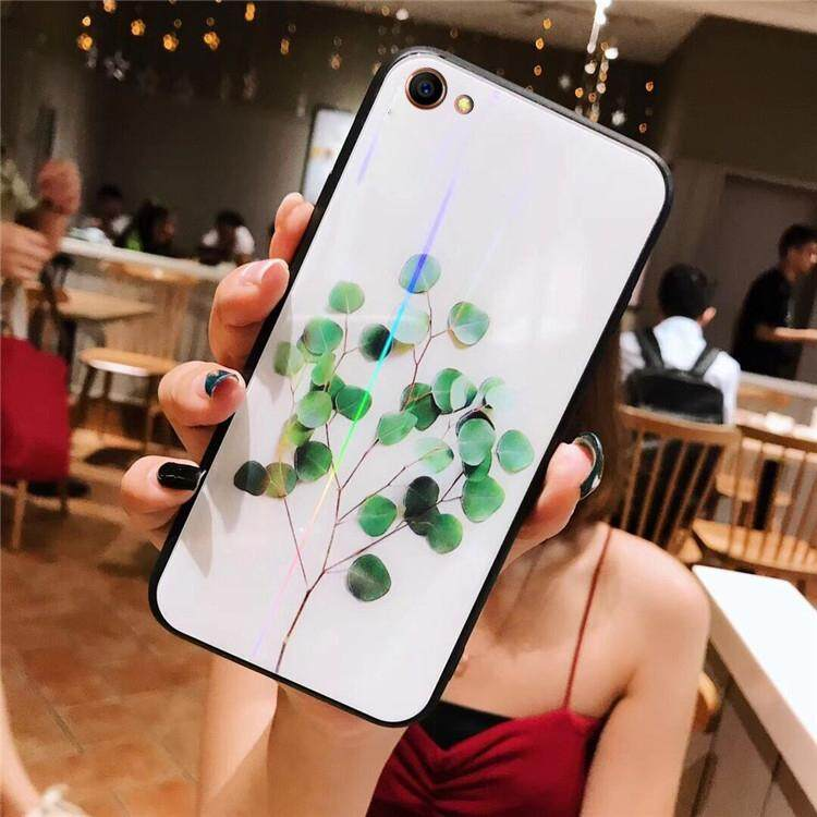 For OPPO A83/A1 Tempered Glass Case Flower Leaf Painted protective Soft Casing Cover
