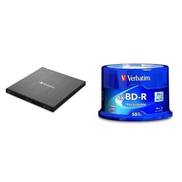 Blank Media Verbatim External Slimline Blu-ray Writer w/ BD-R 25GB 6X 50pk Spindle - intl