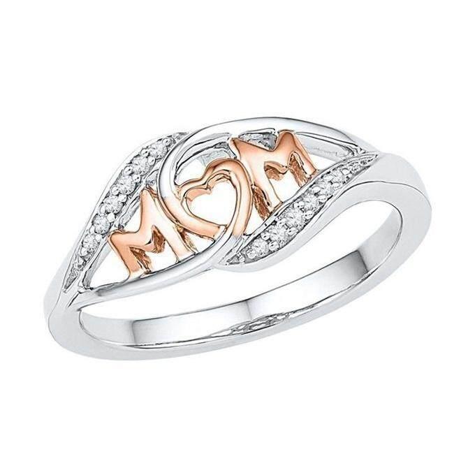 925 Sterling Perak Lingkaran Dua Suara 18 K Mawar Gold Ibu Karakter Berlian Perhiasan Ulang Tahun Keluarga Hadiah Terbaik untuk Ibu mummy Pesta-Internasional