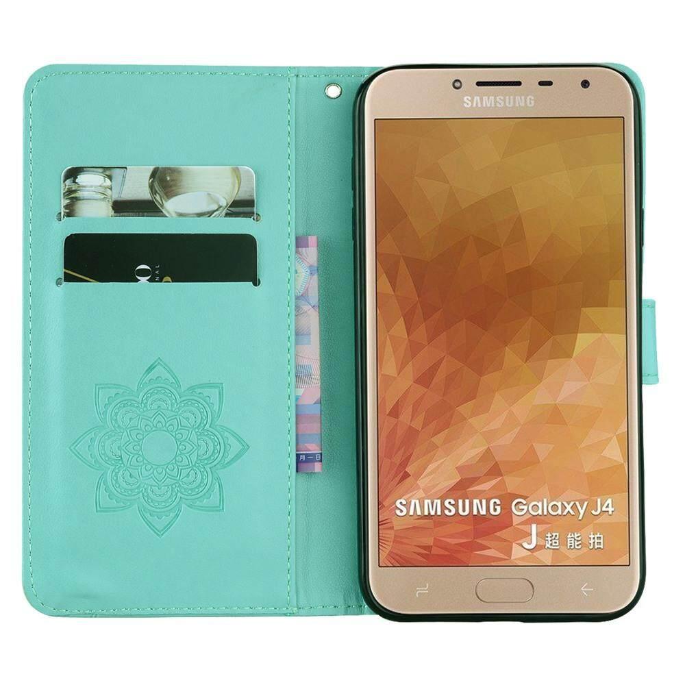 ... Case untuk Samsung Galaxy J4 2018 PU Kulit Emboss Bling Diamond Murni Warna Kickstand Pelindung Casing ...