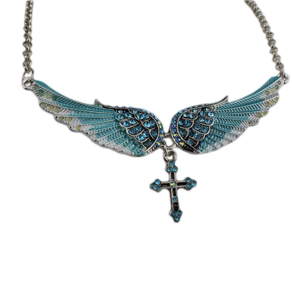 Women Angel Wing Cros Necklace Heart Angel Pendant