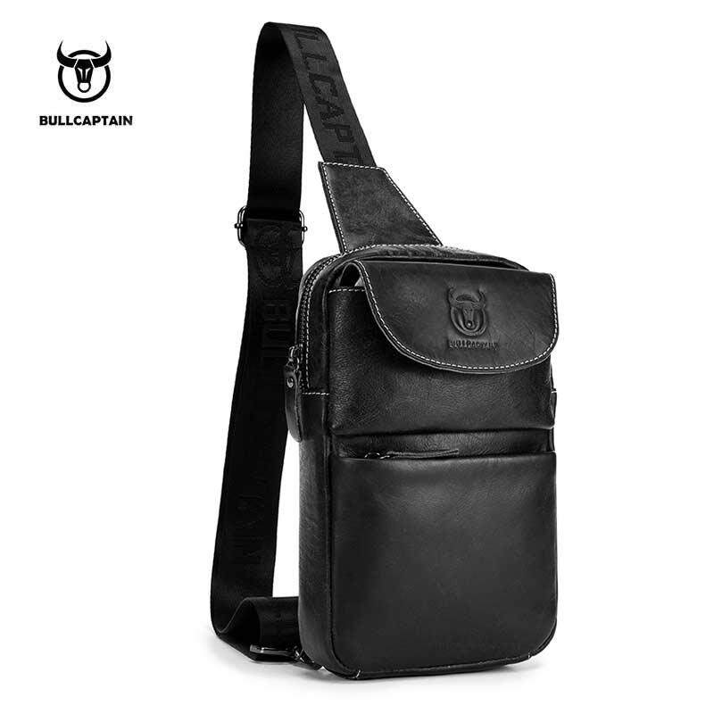 277db71fd9fd BULLCAPTAIN 2018 Brand Genuine Leather Men Chest Bag Fashion Crossbody Bags  For Men Small Causal Shoulder