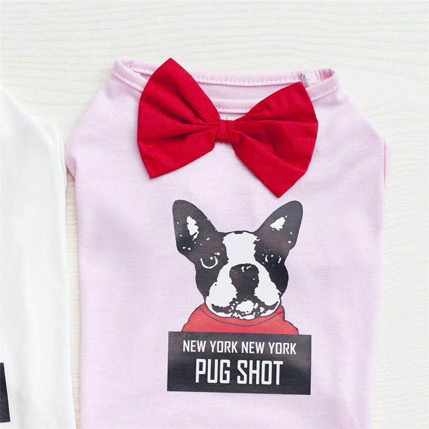 Hình ảnh Bow Tie NEW YORK PUG SHOT Letter Print Spring Summer Pet Dog Cat Vest Puppy Clothing Clothes