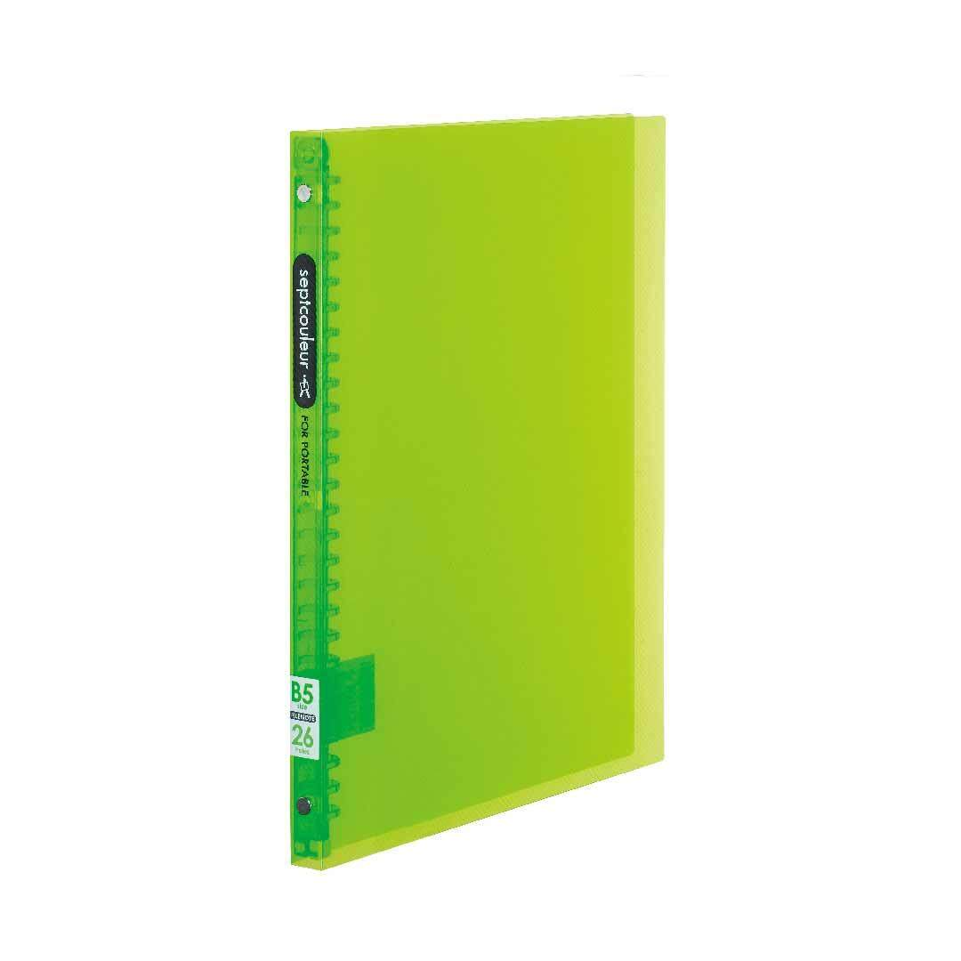 SEPT COULEUR B5, 26 Holes, 60 Sheets, 15 Spine Width - Green