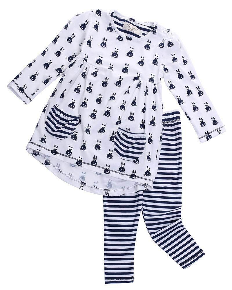 Fashion Anak Balita Bayi Perempuan Kaus Motif Kelinci Gaun + Legging Set Pakaian Baju