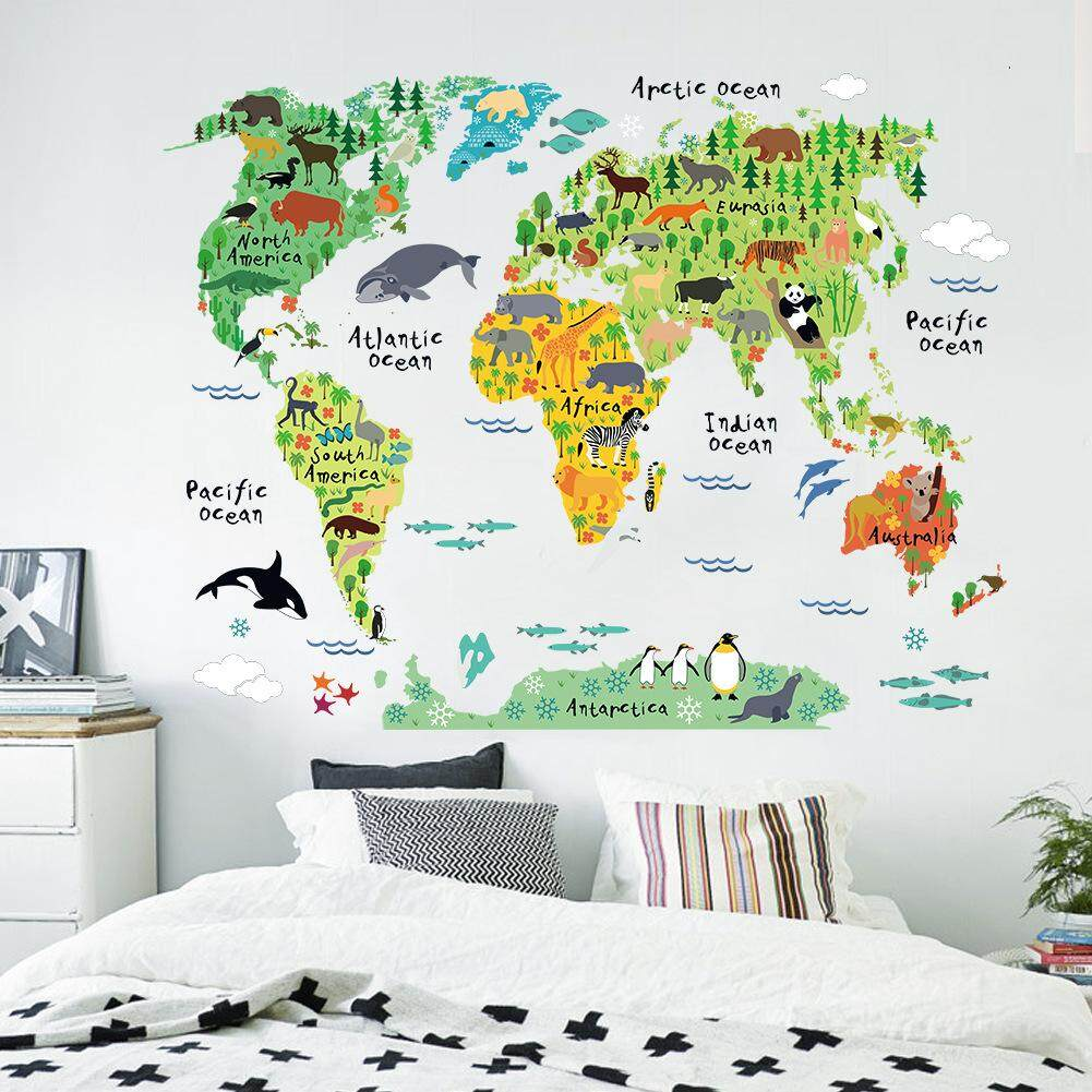 Wall stickers for sale wall decals prices brands review in animal world map wall stickers home decor removable wall decor intl gumiabroncs Gallery