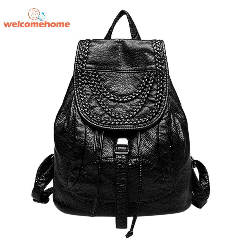 Washed Pu Leather Backpacks Drawstring Women Shoulder Age S Casual Travel Bag Intl Singapore
