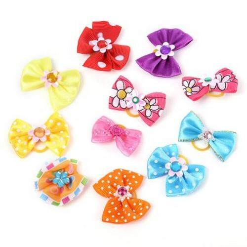 50pcs Mixed Colors Cute Pet Headwear Bow Butterfly Knots Rubber Band (COLORMIX)