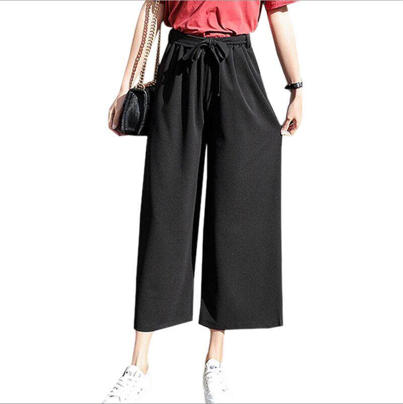 44d49f0397d63 Women Pants Black Loose Sashes Chiffon Pants High Elastic Waist Gray Wide  Leg Pants Trousers