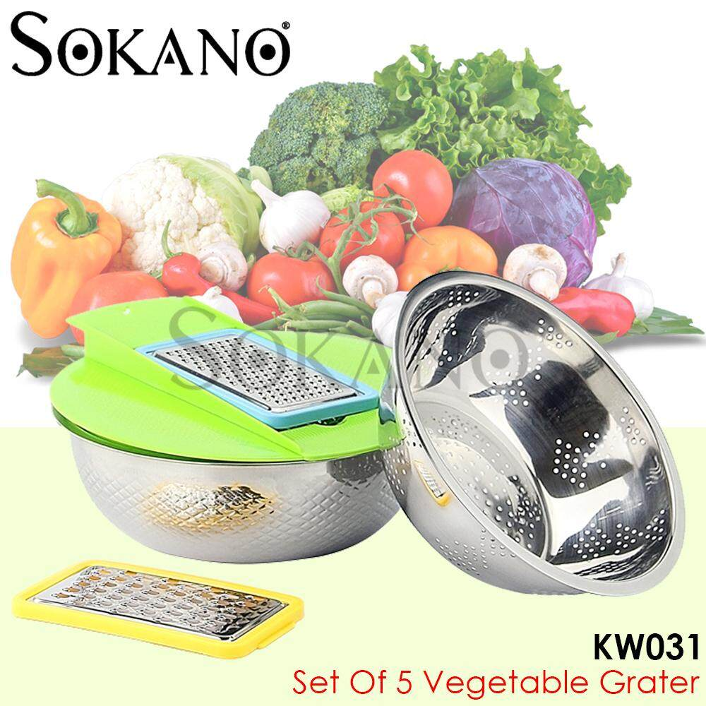 SOKANO KW031 Set of 5 Vegetable Grater With Stainless Steel Bowls