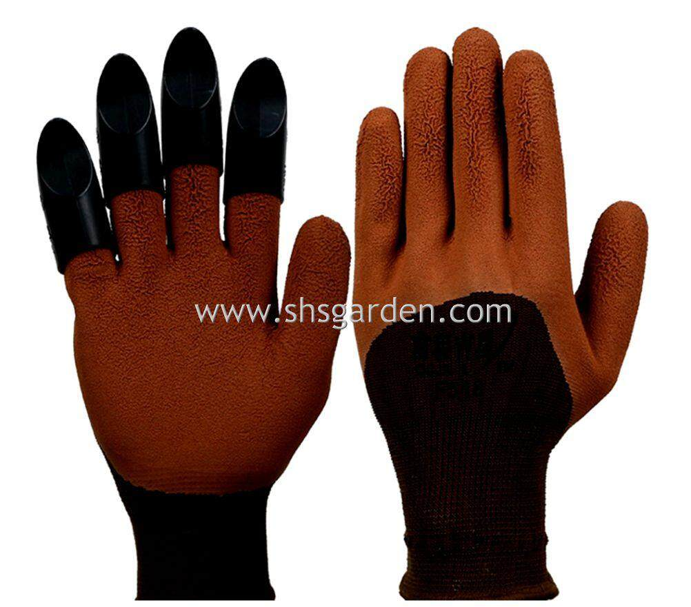 SHS Kebun Gardening Gloves with ABS Claws (Right-hand Claws) Green Orange and Brown